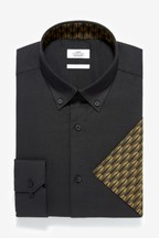 Regular Fit Contrast Trim Shirt With Pocket Square Set