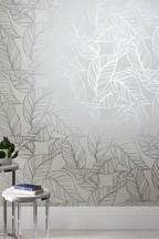 Paste The Wall Silver Line Leaf Wallpaper