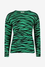 Whistles Green Tiger Stripe Printed Crew Neck Knit Jumper