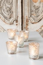 Set of 5 Mercury Glass Tealight Holders