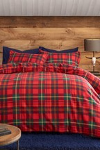 Brushed Cotton Tartan Check Duvet Cover and Pillowcase Set