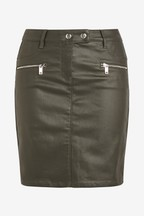 Coated Denim Zip Mini Skirt