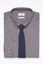 Slim Fit Single Cuff Gingham Shirt And Tie Set