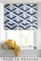 Optical Geo Navy Made To Measure Roman Blind