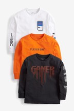 3 Pack Long Sleeve Gamer Graphic T-Shirts (3-16yrs)