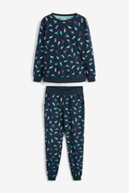Womens Matching Family Navy Dinosaur Pyjamas