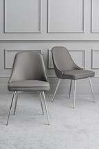 Set Of 2 Skyla Dining Chairs With Chrome Legs
