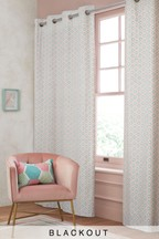 Oriental Mini Geo Eyelet Curtains