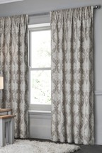 Natural Damask Pencil Pleat Curtains
