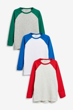 Long Sleeve Raglan T-Shirts Three Pack (3-16yrs)