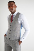 Moss London Skinny Fit Black/White Sky Check Waistcoat