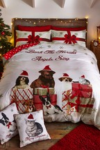 Catherine Lansfield Christmas Party Animals Cats And Dogs Duvet Cover and Pillowcase Set