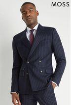Moss London Skinny Fit Blue Stripe Double Breasted Jacket