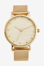 Embossed Dial Mesh Watch
