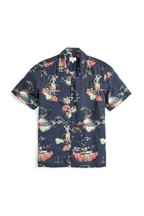 Hawaiian Scene Print Slim Fit Shirt