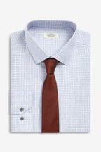 Slim Fit Single Cuff Check Shirt And Tie Set
