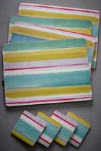 Set of 4 Paint Brush Placemats And Coasters