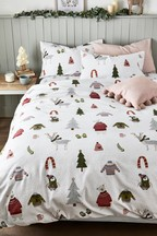 Brushed Cotton Festive Friends Duvet Cover And Pillowcase Set