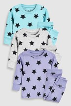 Matching Family Kids Star Snuggle Fit Pyjamas Three Pack (9mths-8yrs)
