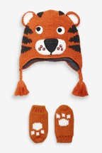 Crochet Tiger Hat And Mitt Two Piece Set (Younger)