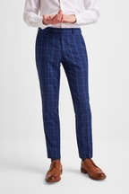 Moss London Skinny Fit Blue Check Trouser