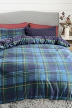 Brushed Reversible Tartan Duvet Cover And Pillowcase Set