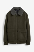 Wool Blend Borg Collar Jacket