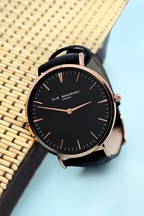Personalised Women's Modern Vintage Black Leather Watch by Treat Republic