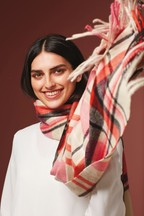 Check Tassel Midweight Scarf