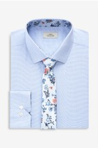 Textured Shirt With Floral Tie Set