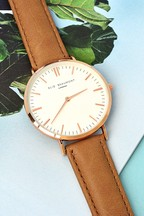 Personalised Women's Modern Vintage Camel Leather Watch by Treat Republic