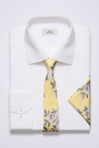 Slim Fit Textured Shirt With Yellow Floral Tie And Pocket Square Set