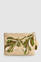 Embroidered Palm Clutch Bag