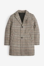 Check Wool Blend Epsom Coat (3-16yrs)