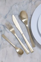 16 Piece Brushed Gold Effect Cutlery Set