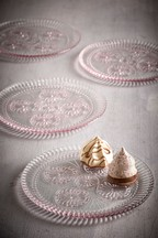 Set of 4 Vintage Embossed Glass Cake Plates