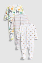 Character/Stripe Sleepsuits Three Pack (0mths-2yrs)