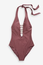 Metal Trim Plunge Swimsuit