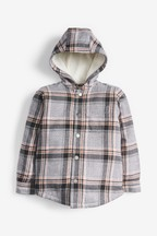 Check Cosy Borg Lined Hooded Shacket (3-16yrs)