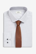 Cotton Slim Fit Single Cuff Textured Shirt And Tie Set