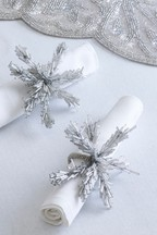 Set of 2 Silver Beaded Napkin Rings