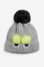 Faux Fur Monster Pom Beanie (Younger)
