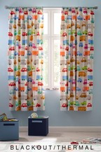 Retro Transport Pencil Pleat Curtains