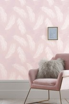 Paste The Wall Blush Feather Wallpaper