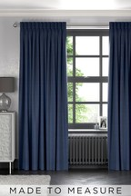 Soft Velour Navy Blue Made To Measure Curtains