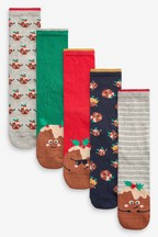 Christmas Pudding Ankle Socks Five Pack
