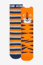 2 Pack Cotton Rich Tiger Welly Socks (Younger)