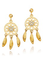 Beaverbrooks 9ct Gold Plated Sterling Silver Cubic Zirconia Dream Catcher Earrings