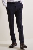 Moss London Skinny/Slim Fit Navy Check Trousers