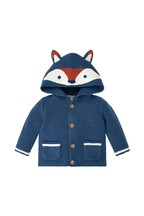 Monsoon Children Blue New Born Austen Fox Cardigan